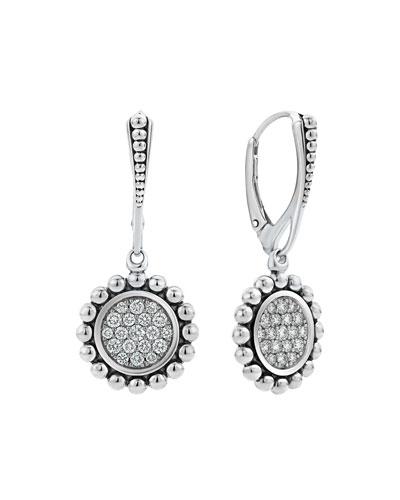 Caviar Spark Diamond Circle Drop Earrings