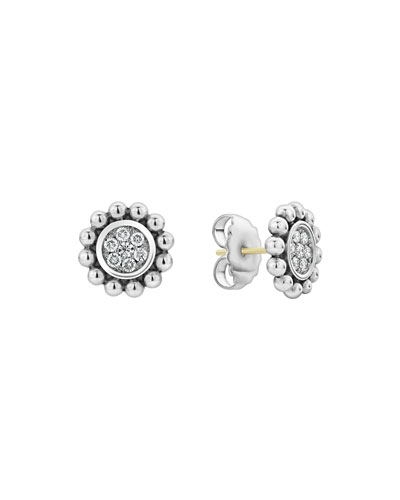 Caviar Spark Diamond Circle Stud Earrings