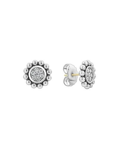 Caviar Spark Diamond Circle Stud Earrings