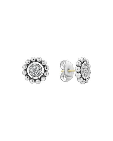Lagos Caviar Spark Diamond Circle Stud Earrings