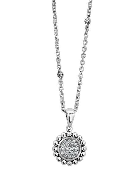 Lagos Caviar Spark Diamond Circle Pendant Necklace