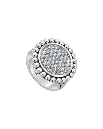 Caviar Spark 23mm Diamond Ring, Size 7