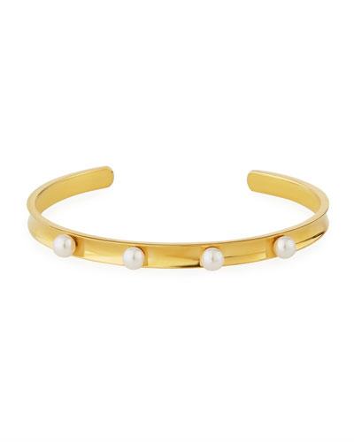 4-Pearl Bangle Bracelet, White