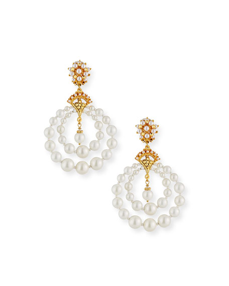 Jose & Maria Barrera Pearly Double-Hoop Clip Earrings