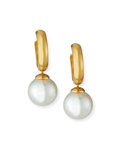 Huggie Hoop Pearl-Drop Earrings, White