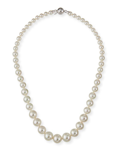 Graduated Short Pearl Necklace, White, 18