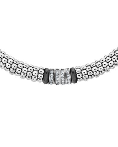 Black Caviar 4-Diamond Station Necklace, 16