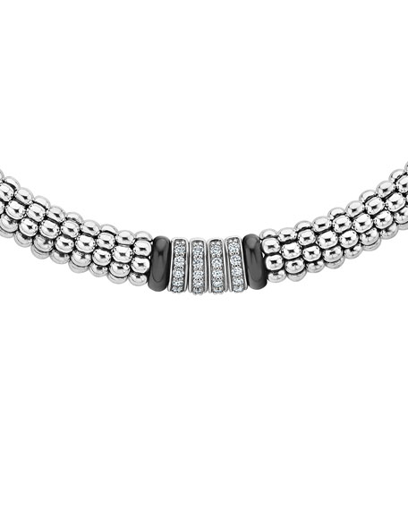"Lagos Black Caviar 4-Diamond Station Necklace, 16"" & 18""L"