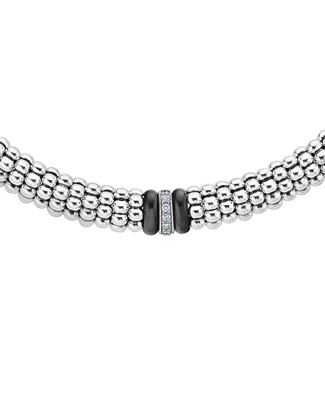 "Lagos Black Caviar Diamond Station Necklace, 16"" & 18""L"