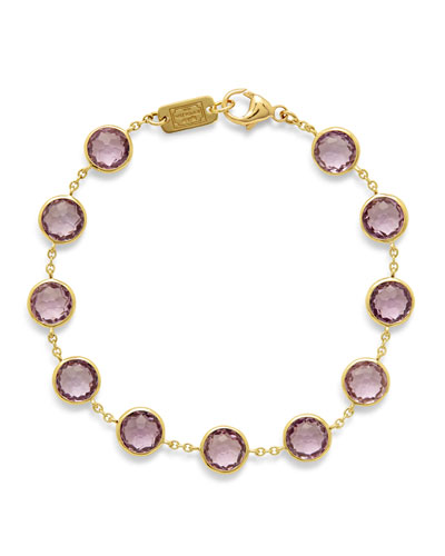 Lollipop Stone & Chain Bracelet in Amethyst
