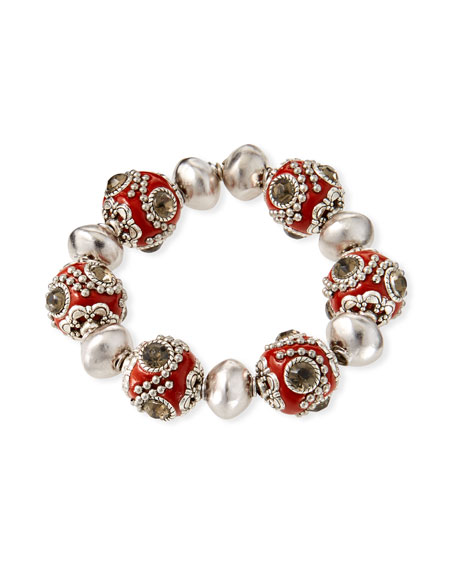 Devon Leigh Encrusted Bead Stretch Bracelet