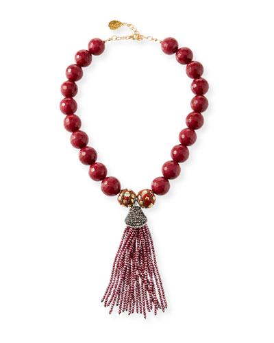 Jade Bead Necklace w/ Crystal Tassel