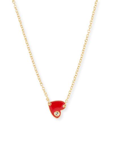 Mia Mini Enamel Necklace, Red