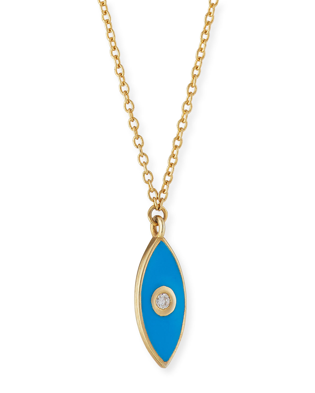 Nazar Enamel Evil Eye Diamond Necklace