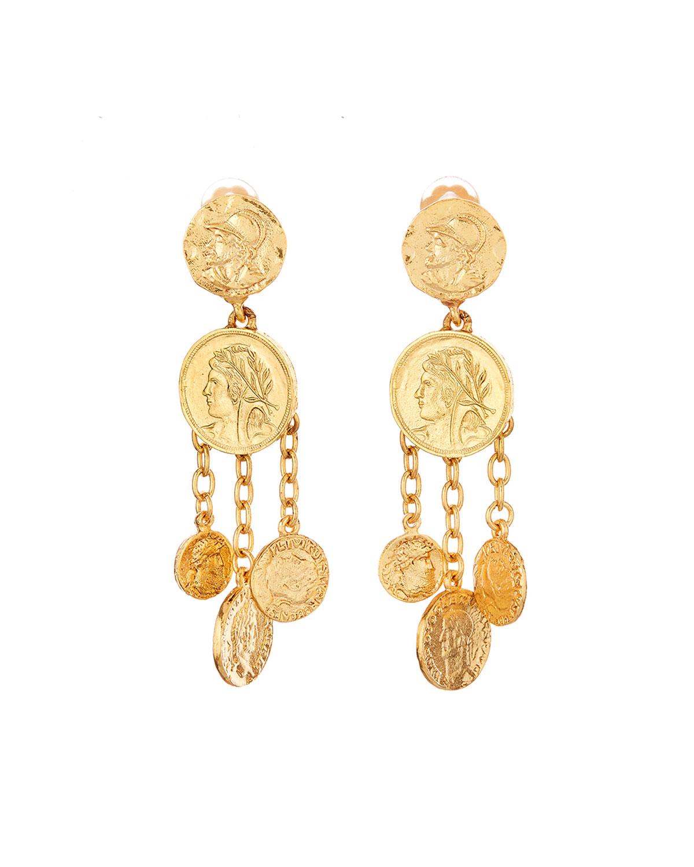 Oscar De La Renta Accessories COIN CHANDELIER CLIP EARRINGS
