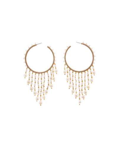 Beaded Hoop Dangle Earrings