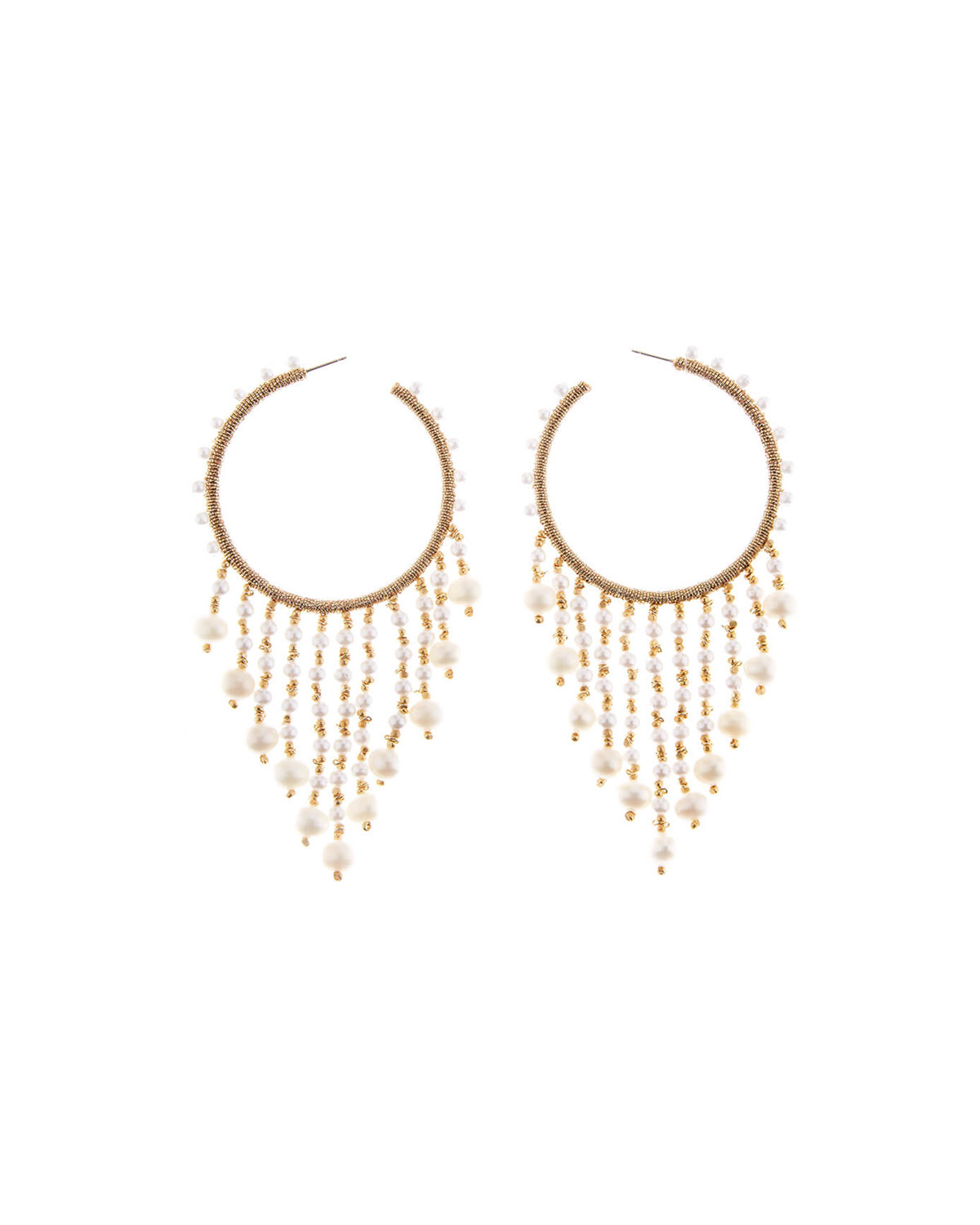 Oscar De La Renta Accessories BEADED HOOP DANGLE EARRINGS