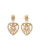 Oscar de la Renta Pearly Crystal Heart-Drop Earrings