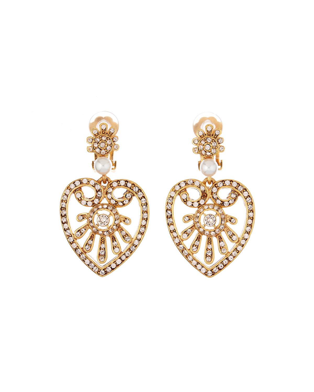Oscar De La Renta Jewelry PEARLY CRYSTAL HEART-DROP EARRINGS