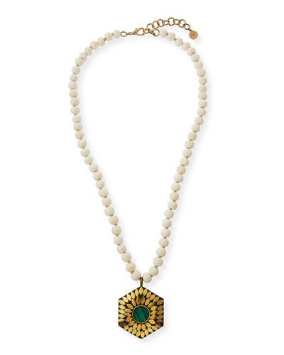 Bone Beaded Malachite Necklace