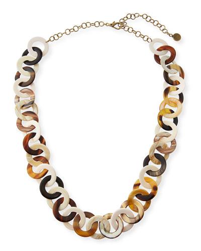 14k Horn & Bone Circle-Link Necklace