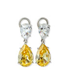 Fantasia by DeSerio Double-Teardrop Cubic Zirconia Earrings
