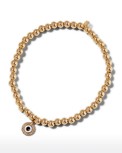 14k Gold 4mm Bead & Diamond Evil Eye Bracelet