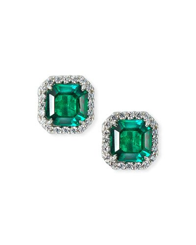Cubic Zirconia & Synthetic Emerald Stud Earrings