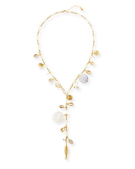 Sequin Mother-of-Pearl Y-Drop Necklace
