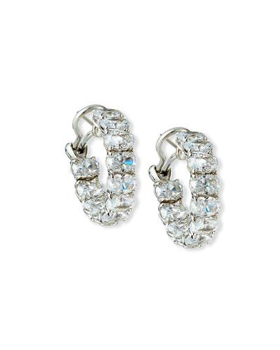 Cubic Zirconia Hoop Earrings, 7/8