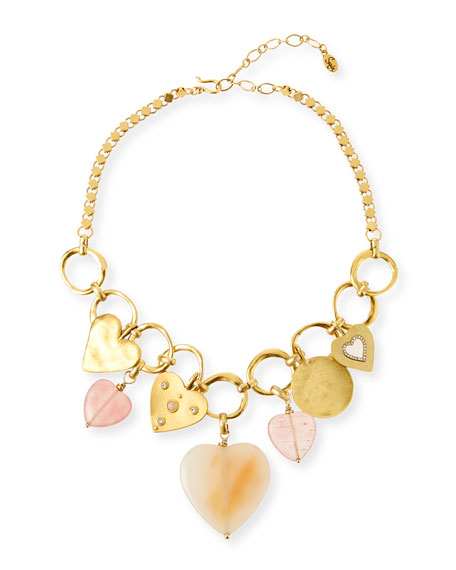 Sequin Agate Heart-Statement Necklace