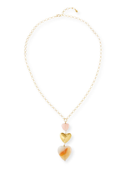 Sequin Agate 3-Heart Necklace