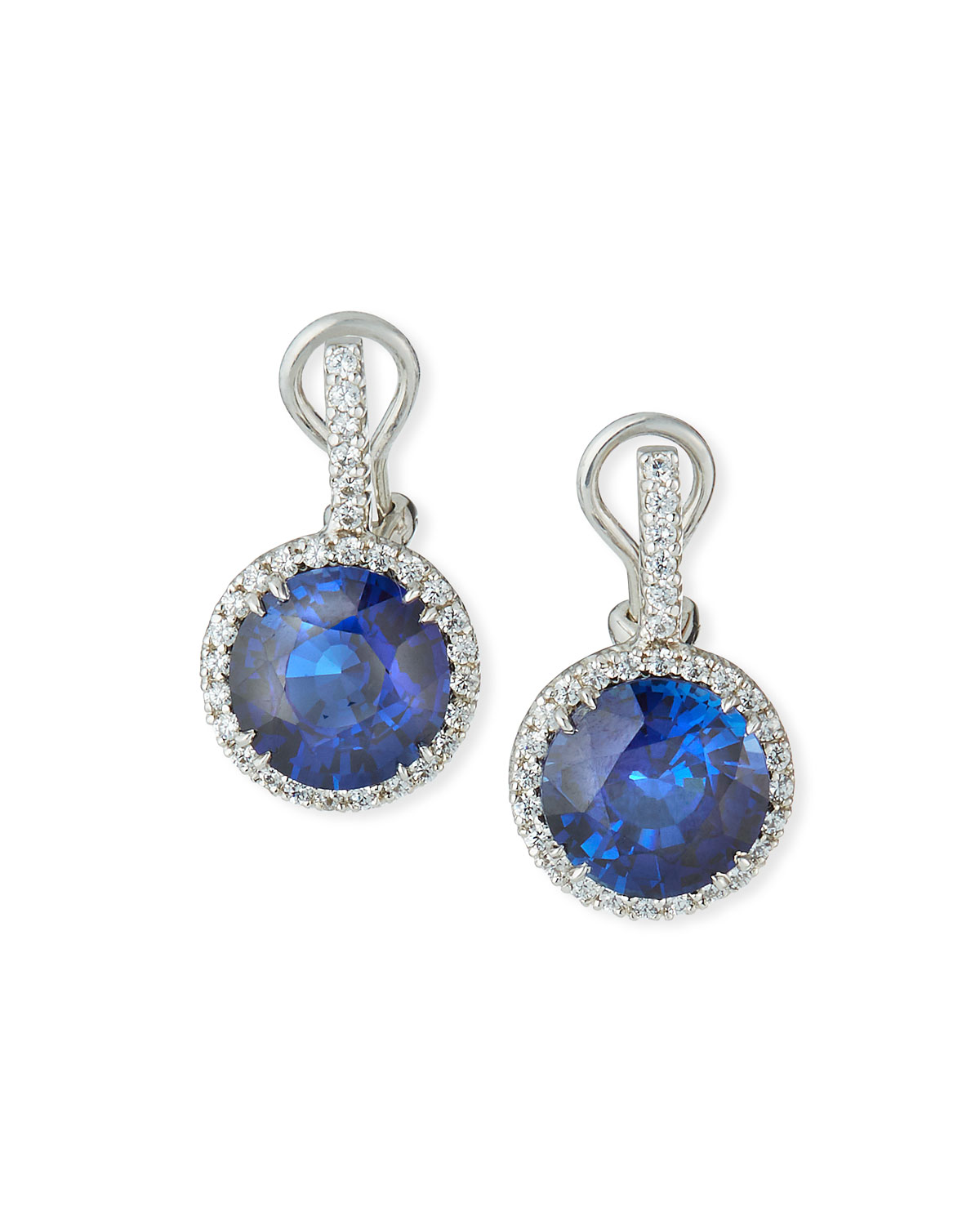 Pave-Set Synthetic Sapphire Drop Earrings