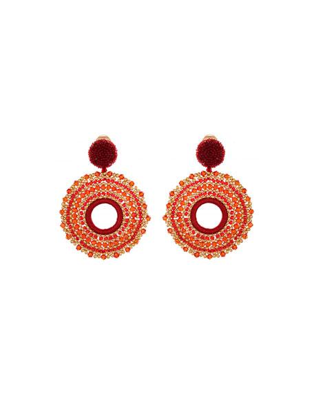 Oscar de la Renta Beaded Circular Clip-On Drop Earrings