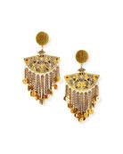 Oscar de la Renta Embellished Beaded Chain Fan