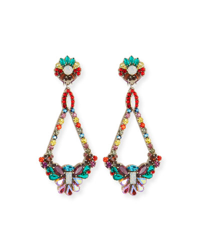 Handmade Multicolor Crystal Clip-On Earrings