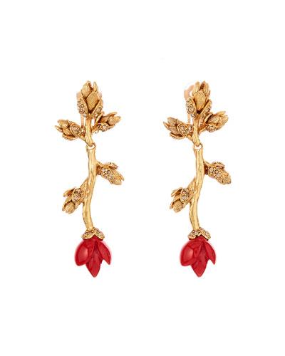 Resin & Crystal Flower Bud Clip Earrings