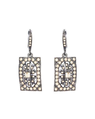 Multi-Crystal Square Drop Earrings