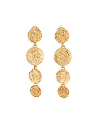 Linked Coin-Clip Earrings