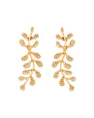Oscar de la Renta Crystal Pave Leaf Earrings