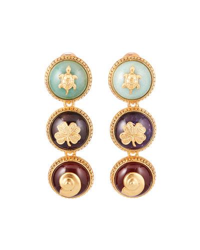 Triple Disk Clip-On Earrings