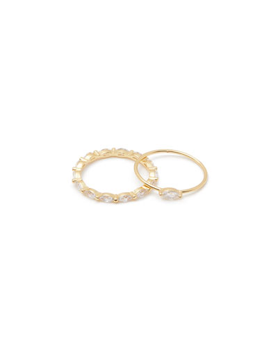 Lena Stack Rings, Set of 2, Size 6-8