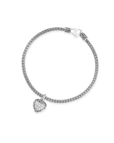 Classic Chain Diamond Heart Charm Bracelet, Size S-L