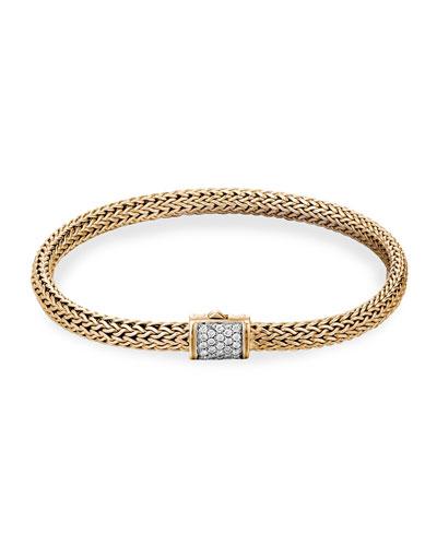Classic Chain 18k Diamond Pave Station Bracelet, S-M