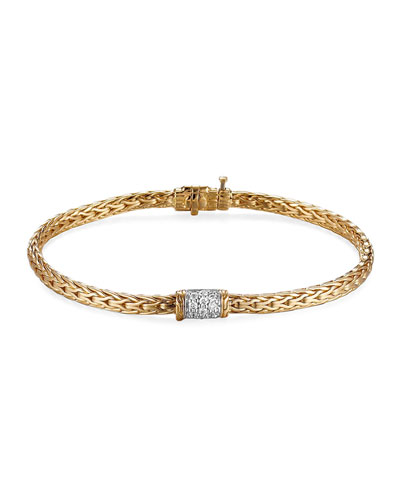 Classic Chain 18k Diamond-Station Bracelet, Medium