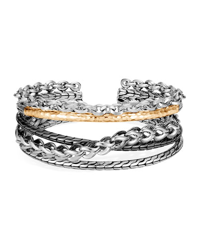 Classic Chain Hammered Overlap Bracelet w/ 18k Gold, Size S-L