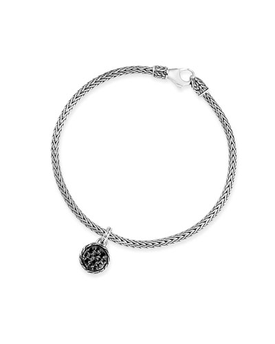 Classic Chain Black Spinel & Sapphire Charm Bracelet, Size S-L