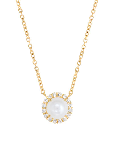 18K Diamond-Edged Freshwater Pearl Necklace