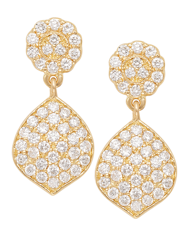 18K Small Diamond Pave Acorn Earrings