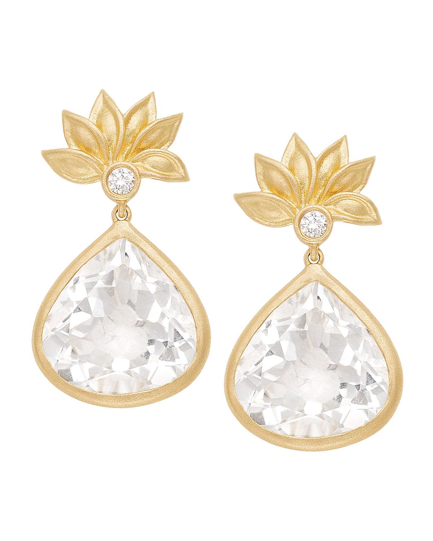 18K Diamond Lotus & Topaz Pear Earrings